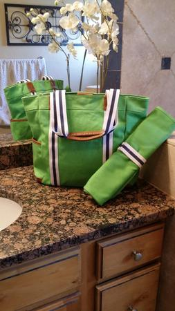 Pottery Barn Kids Green Harper Diaper Tote Bag  with Changin