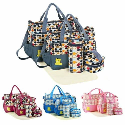 5Pcs/Set Multi-functional Mummy Mother Handbag Baby Changing