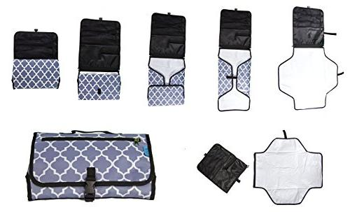 Baby Steps Best Portable Changing Pad Mat Grey - Baby Shower Gift or For Mom of or