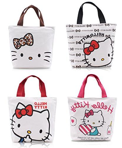 Finex - Set of 2 - Hello Kitty Canvas Zippered Tote with Top