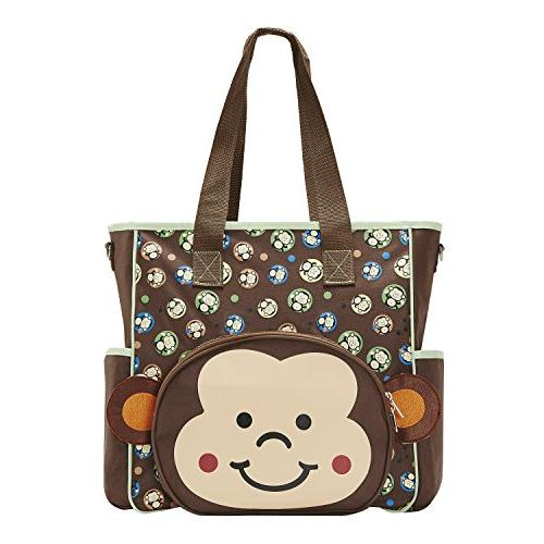 SoHo diaper Monkey tote baby insulated multifunction capacity durable bag includes changing stroller straps mesh brown