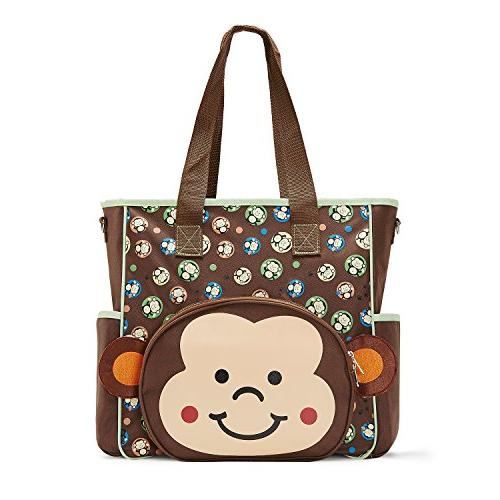 SoHo diaper Monkey tote travel bag for baby mom insulated unisex capacity bag changing pad mesh brown