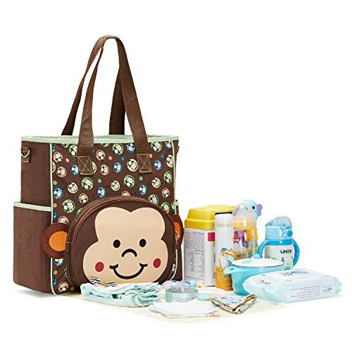 SoHo diaper bag Monkey 10 pieces nappy tote baby dad insulated multifunction large capacity includes changing pad straps mesh bag brown