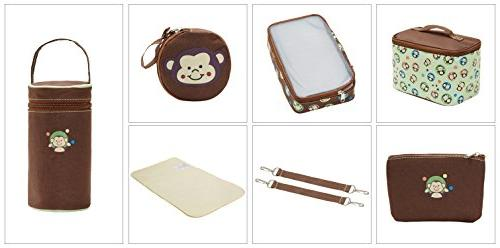SoHo diaper Monkey pieces tote baby insulated unisex large capacity durable changing mesh bag brown