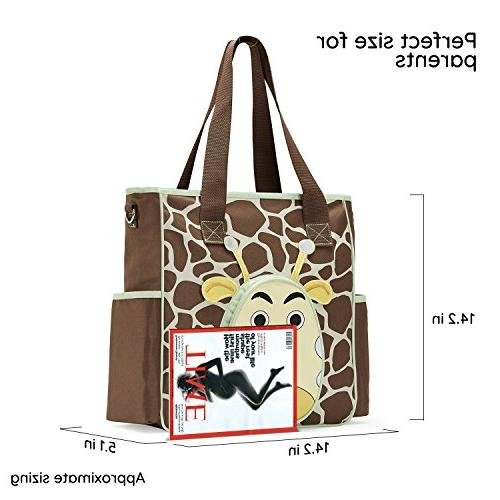 SoHo diaper bag Gavin the Giraffe 10 nappy for baby insulated capacity durable includes changing pad brown