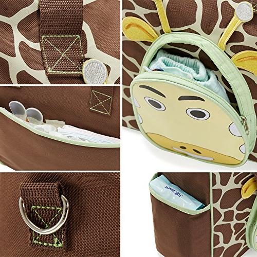 SoHo the Giraffe 10 pcs nappy tote travel for baby mom insulated unisex multifunction capacity changing straps brown