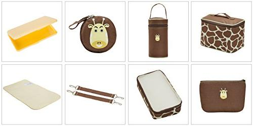 SoHo diaper bag the Giraffe pcs nappy travel for baby insulated capacity changing pad straps brown
