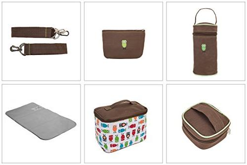SoHo diaper bag set nappy for stylish insulated unisex multifunction large capacity includes changing pad bottle case Brown