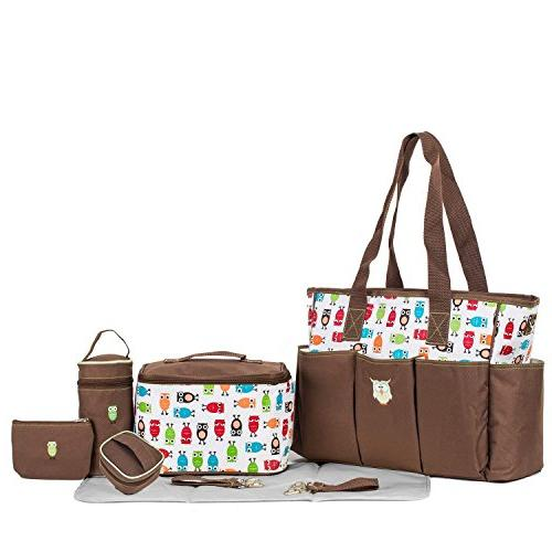 SoHo diaper The Owls set tote bag for mom stylish insulated large includes pad case