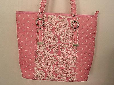 Pink baby girl quilted diaper bag /tote w/wallet cosmetic ba