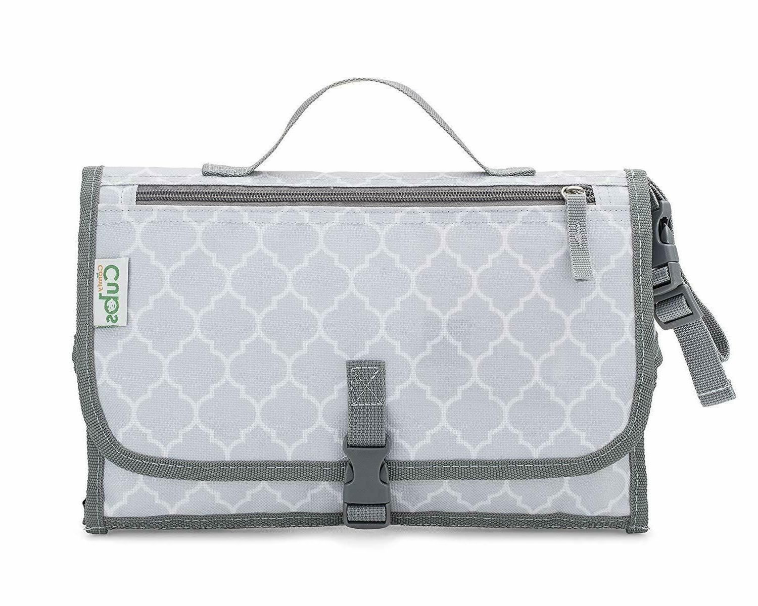 Baby Portable Diaper Bag, Mat Station, Grey Large