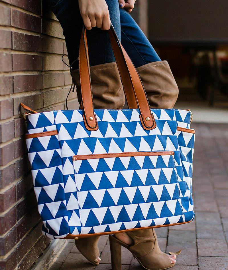 blue triangle tote bag the libra by