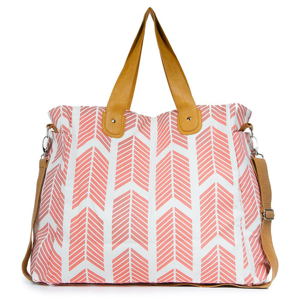 Coral Arrows Weekender Tote Bag by White Elm - Diaper Nappy