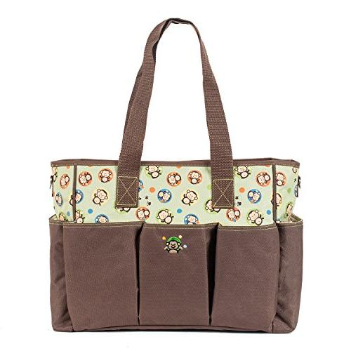 SoHo diaper bag Curious Monkey 7 pieces set nappy tote bag f