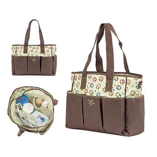 SoHo Monkey 7 set nappy tote bag baby insulated unisex large multifunction includes pad lunch
