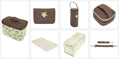 SoHo Monkey nappy tote for baby mom dad insulated multifunction includes changing pad stroller box bottle case