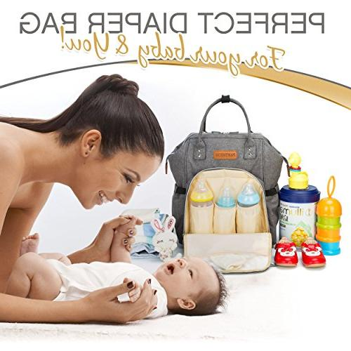 Diaper Bag Baby with Pad, Cooler Storage, Stroller Straps, Girl or Mom or Dad