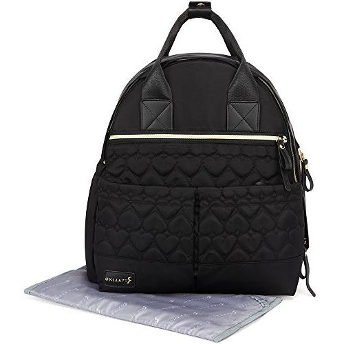 Diaper Large Bag Multifunction Stylish Bookbag Baby Boy and with Stroller Straps and Changing Black