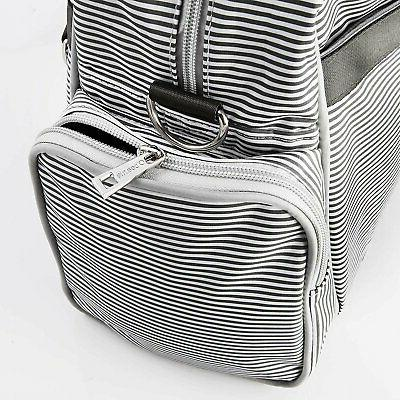 Diaper Bag Bags Waterproof Gray And Cream Stripe By