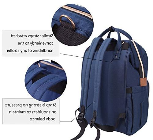 Diaper Bag,Large Capacity Diaper Backpack Nappy Bag, Multi-Function Nursing Bag with Insulated Pocket, Fashion Stylish Waterproof Blue