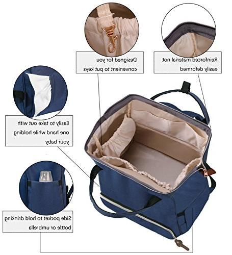 Diaper Bag,Large Capacity Diaper Bag, with Insulated Bottle Fashion Stylish Waterproof Blue