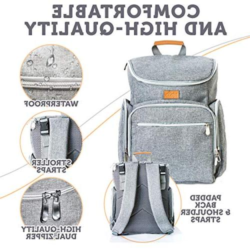 Baby Diaper Bag Backpack - Baby for Mom Girls and Dad - Large - Changing Pad Straps - Gray