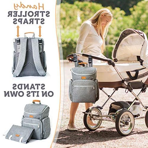 Baby Republic Backpack - for Mom Girls and Diaper Bags for Large Insulated Pockets Changing Stroller Straps Gray