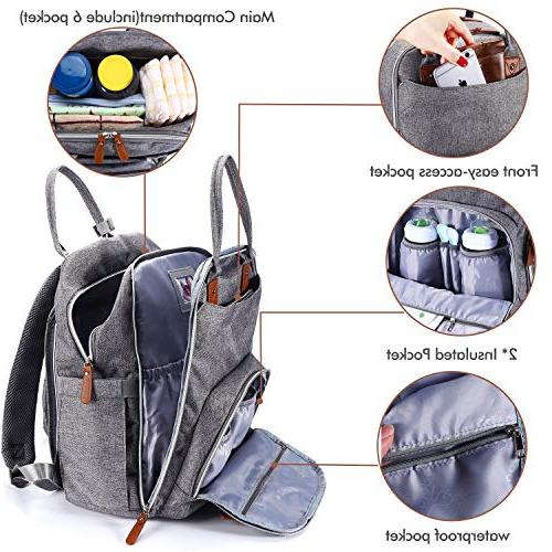 Diaper Bag Backpack, BabbleRoo Neutral Back Pack Large Waterproof Baby Nappy Changing Boys & Girls, Multifunction &