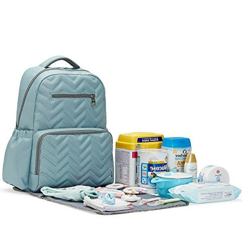 SoHo Blake Pieces Nappy Tote Bag Baby mom Stylish Insulated Unisex Capacity Durable Includes Changing Stroller Aqua