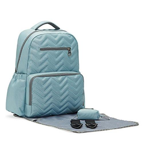 SoHo Diaper Backpack Blake Pieces Nappy Tote Baby mom dad Insulated Capacity Waterproof Includes Changing Stroller Aqua