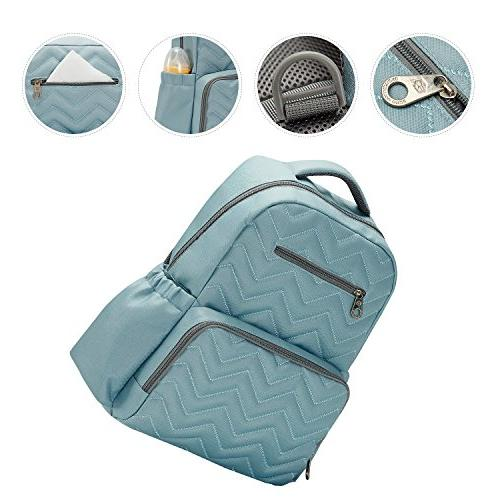 SoHo Backpack Blake Chevron Nappy for Baby mom Insulated Unisex Capacity Waterproof Changing Stroller Aqua