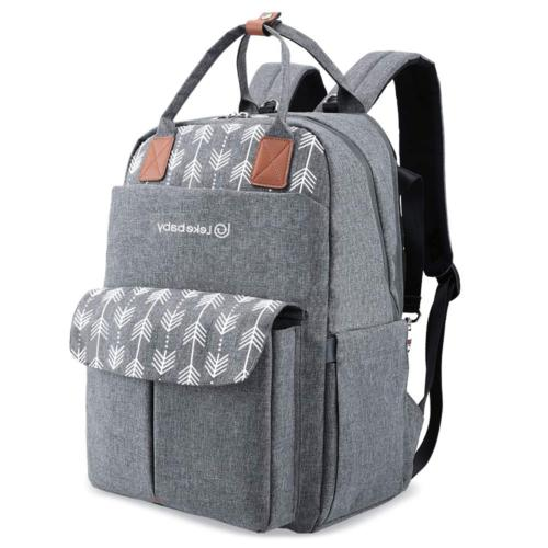 Diaper Backpack Mom Print, Multifunction Travel Back Pack Grey