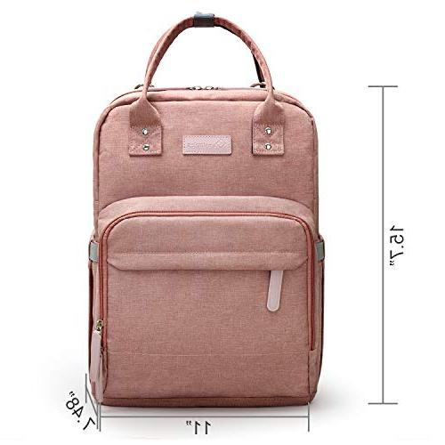 Diaper Bag Backpack Multi-Function Maternity for Dad, Travel Back Pack Baby Changing with Laptop Pocket | Charging Port | Pink