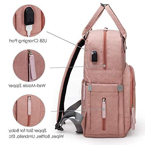 Diaper Multi-Function for & Dad, Travel Changing Bag with Pocket Port | Pink