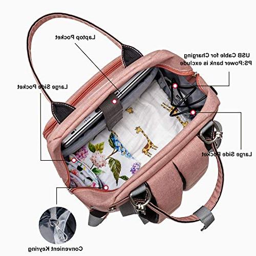 Diaper Bag Upsimples Multi-Function Maternity Nappy Bags for Changing Pocket | Charging | Pink