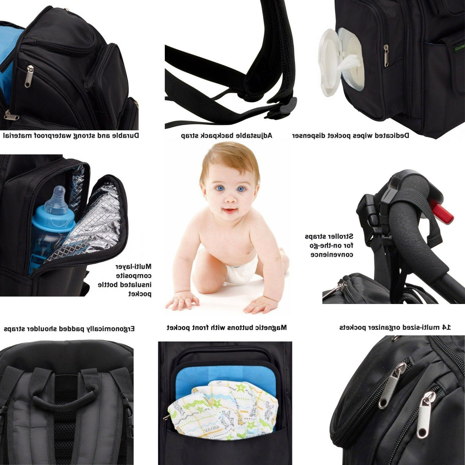 Diaper Backpack Stroller Straps Changing Pad Wipes Dispenser