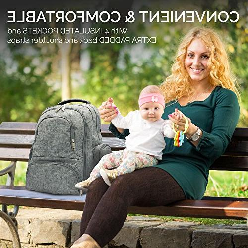 Diaper Portable Nappy Large Backpack Baby - Stroller Straps, Changing Mat, - Unisex & Women-Stylish