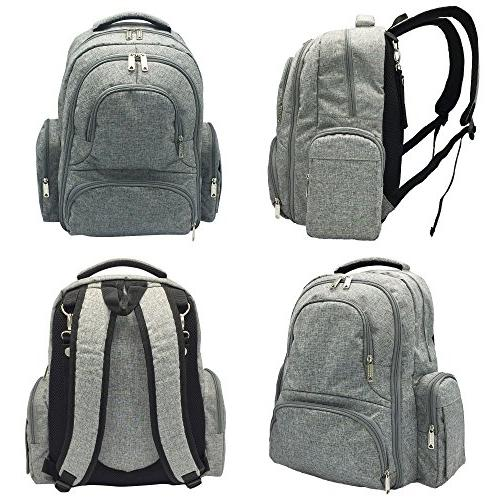Portable Waterproof Nappy Large Backpack Travel With Baby Changing Mat, - Unisex & Women-Stylish