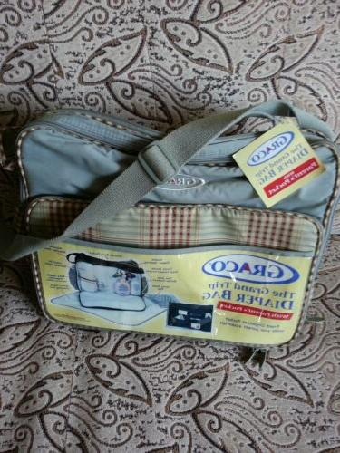 diaper bag gray with brown accents brand