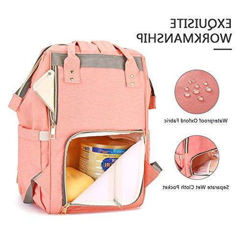 HaloVa Diaper Bag Waterproof Backpack Bags for Care, Large Durable