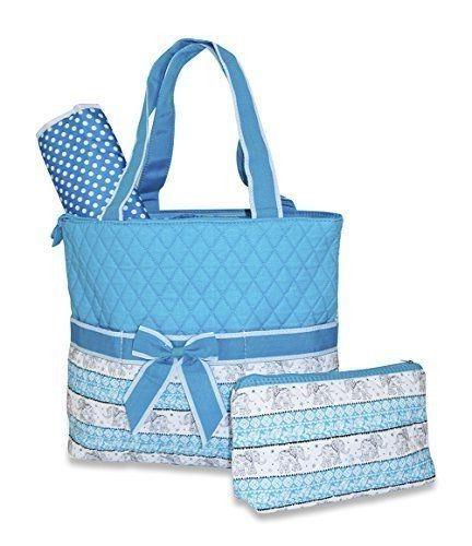 elephant print quilted cotton diaper bag teal