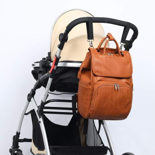 Brown PU Mummy Backpack Nappy Pad