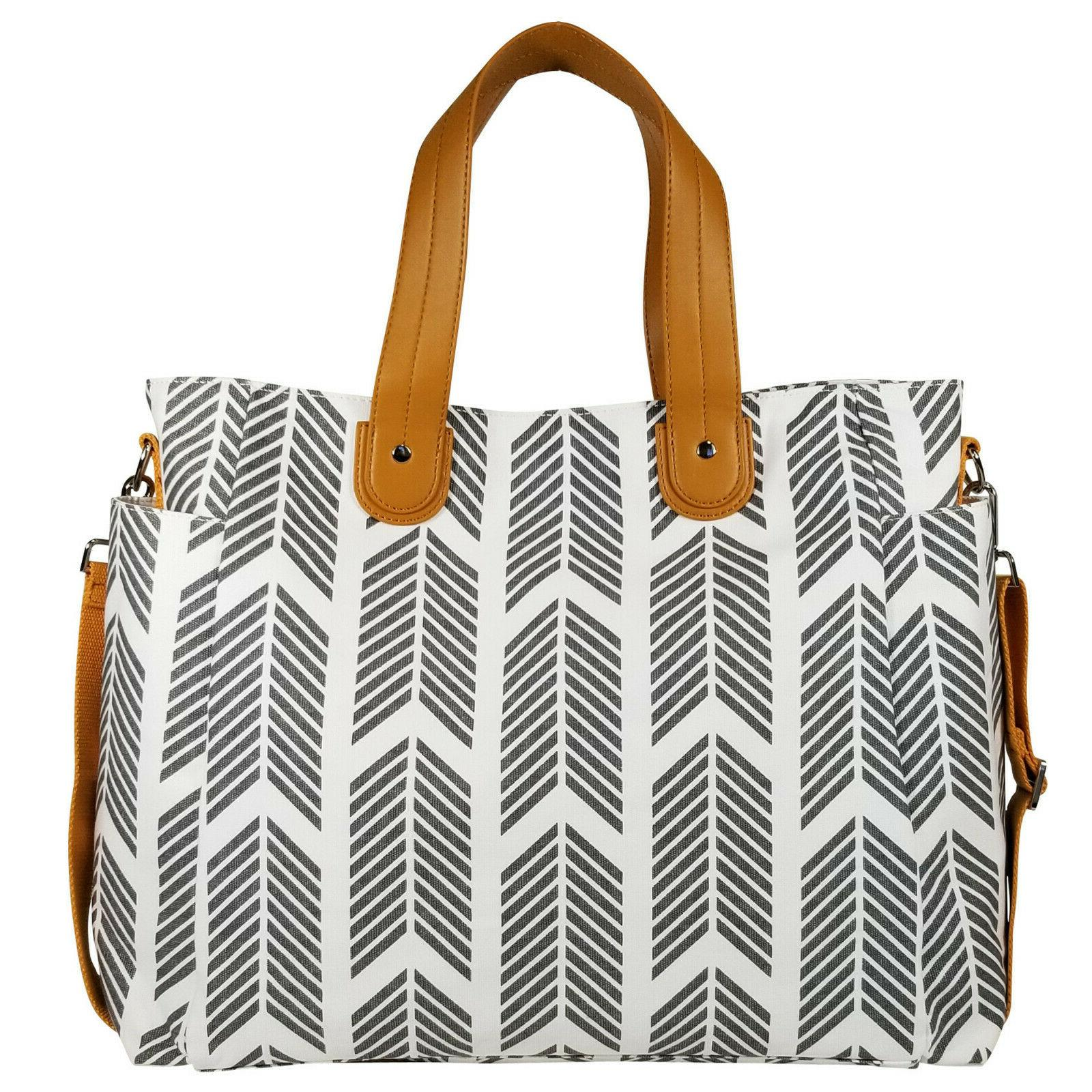 Gray Arrows Weekender Tote Bag by White Elm - Diaper Nappy B