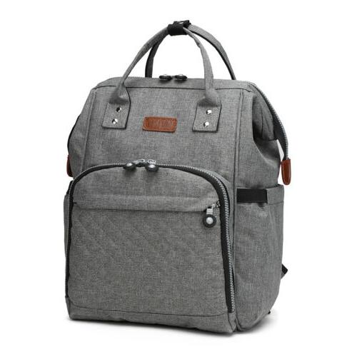 Grey Changing Baby Diaper Backpack Multi-Function
