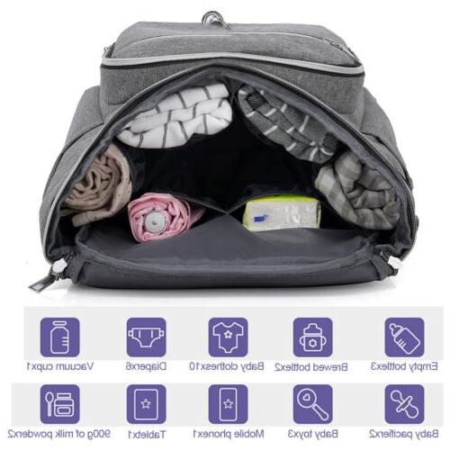 Large Mummy Maternity Diaper Bag Baby Nappy USB Earphone Port US