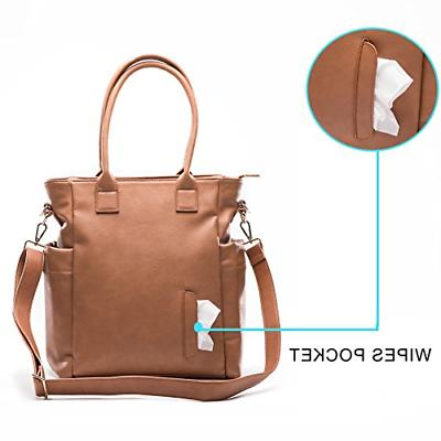 Leather Diaper Bag By Bag Tote Changing Pad, In