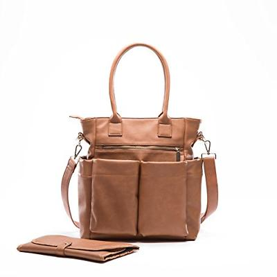 Leather Diaper Bag By Fong, Bag Tote With Changing Pad, In