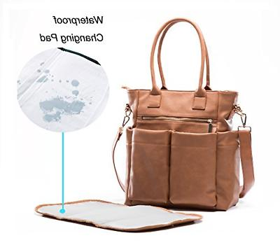 Leather Bag By Diaper Bag Tote With Pad,