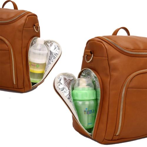 Leather Backpack Baby Nappy Insulation Bag