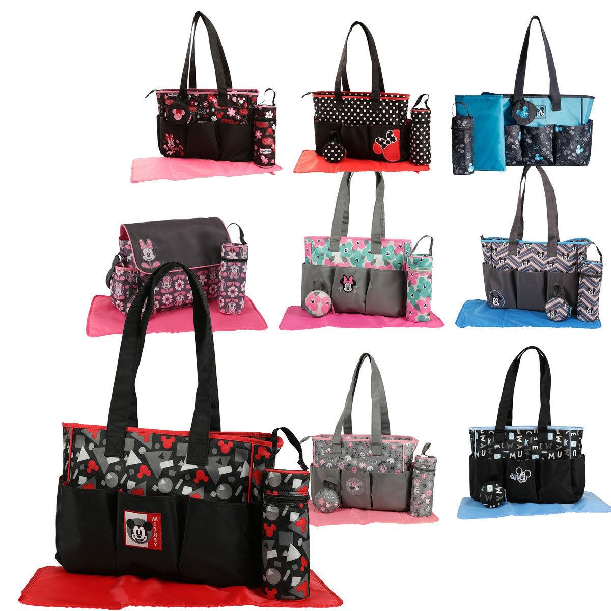 Disney Mickey Minnie Mouse 4 pcs Large Baby Diaper Bag Pacif